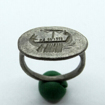 Roman Ancient Artifact Silver Ring With Galley