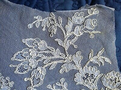 "ANTIQUE/VINTAGE FRENCH ALENCON COTTON NET LACE PANEL~LARGE FRAGMENT~21"" x 10"""