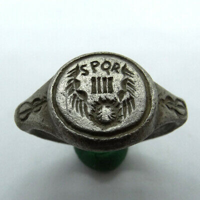 Roman Ancient Artifact Silver Ring With Spqr Iiii And Eagle Wings