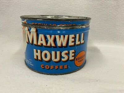 Vintage Antique Maxwell House Coffee Regular Grind Tin Can Empty