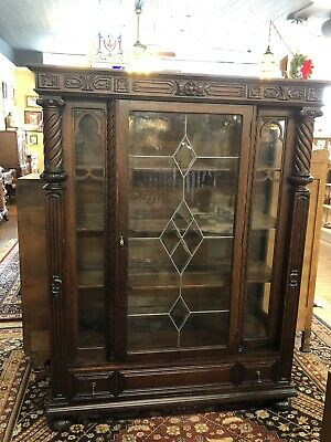 Antique Oak Bookcase Curio Cabinet Heavily Carved Original Leaded & Wavy Glass
