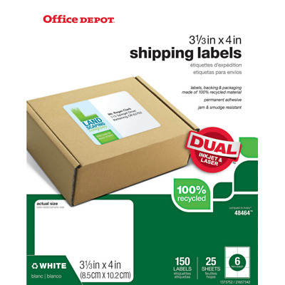 """Office Depot Brand 3 1/3"""" x 4"""" Mailing Labels, White, 150-Pk"""