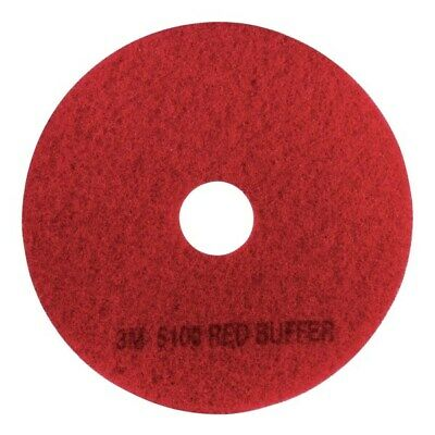 """3M 5100 Buffing Floor Pads, 19"""", Red, Pack Of 5 Pads"""