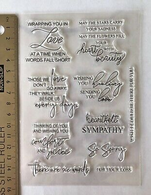 Clear rubber stamps Words Sympathy Comfort Love Sorry Verse Card Making New