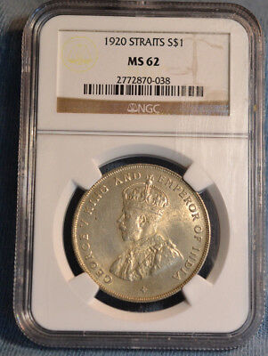 1920 Straits Settlements Dollar Silver Coin, NGC MS62, Nice Coin, Nice Price