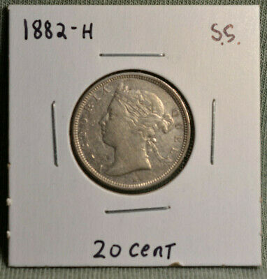 1882-H Straits Settlements 20 Cent Silver Coin, Nice Condition, Queen Victoria