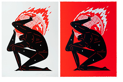 Cleon Peterson WORLD ON FIRE RED & WHITE Signed Numbered #/125