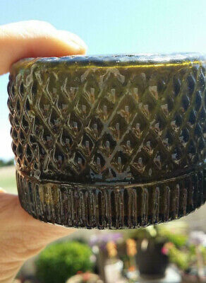 Early 19th C American 3-Mold Diamond Pattern Blown Olive Green Glass Inkwell