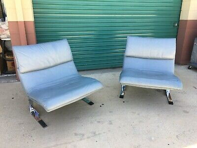 Post Modern Giovanni Offredi Pair Leather Chrome Lounge Chairs Saporiti Italy