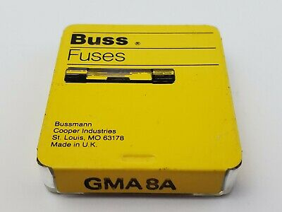 Lot of 5 Buss GMA8A 125V 8 Amp Fast Acting Bussmann Fuses