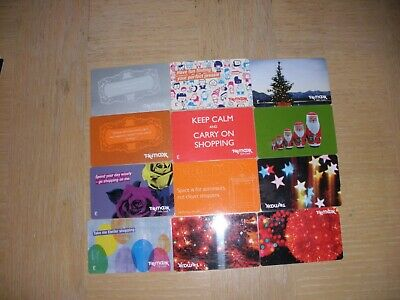 U K   T K Maxx    12 different new and used collectible gift cards