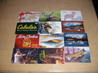 Cabela's   12 different new and used collectible gift cards