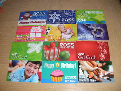 Ross   12 different new and used collectible gift cards