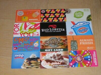 Restaurants and Food 12 different new and used collectible gift cards