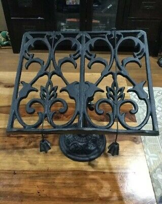 Cast Iron Bible Book Stand With Page Holder 10.5 X 8.5 In Heavy