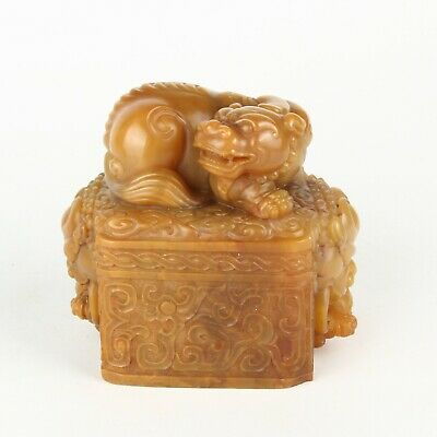 Chinese Antique Shoushan Stone Carved Mythical Animals Seal