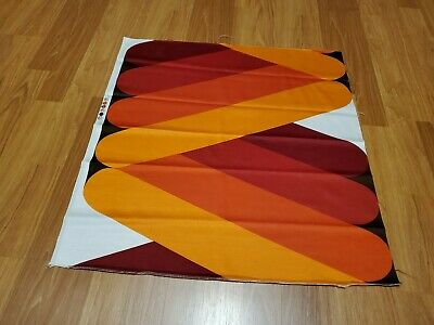 Awesome RARE Vintage Mid Century retro 70s bold reds org diagonal fabric! LOOK!