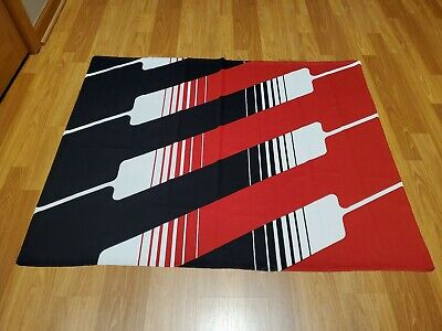 Awesome RARE Vintage Mid Century retro 70s red blk wht striped op art fabric!!