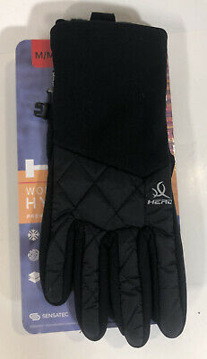 HEAD Touchscreen Hybrid Running Gloves Sensatec WOMENS M Medium Black Windproof