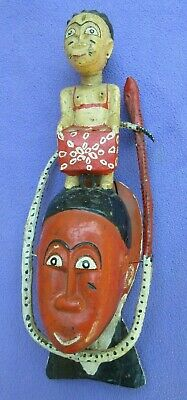 Baule Tribe Vintage Carved Mermaid Mami Wata Face Surrounded With Snake Mask