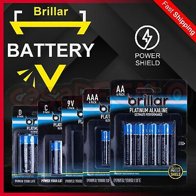 AA AAA C D PLATINUM Alkaline Batteries Battery - Brillar