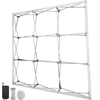 8' Pop Up Booth Tension Fabric Display Trade Show Straight Backdrop Frame