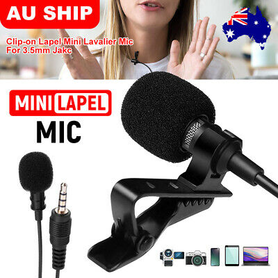 Clip-on Mini Lapel Lavalier Mic Microphone 3.5mm For Mobile Phone PC Recording