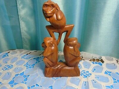 """Hand Carved Wood 3 Wise Monkeys(See,Hear and Speak No Evil) 8-1/2""""Tall Pre-owned"""