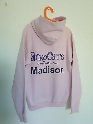 Personalised Madison Gymnastics Pink Hoodie Acrocats Size Large Youth Approx Age