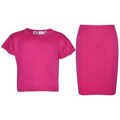 Kids Girls Plain Pink Crop Top & Pencil Skirts Two Piece Party Dress Outfit Sets