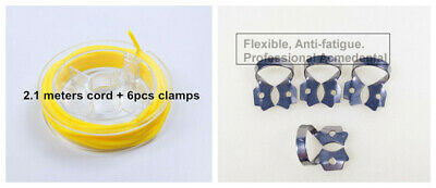 7# Dental Rubber Dam Sheets Clamp Clip (Stabilizing Cord x2.1m+ Clamps x6)