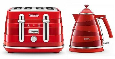 Delonghi Exclusive touch of Class Kitchen RED Avvolta Kettle & 4-SLICE Toaster