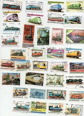 TRAINS ON STAMPS - 100 all Different - off paper  ( 3 scans )