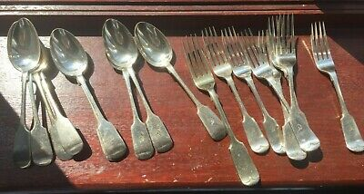 Silver forks and spoons, set of 17 with detailing