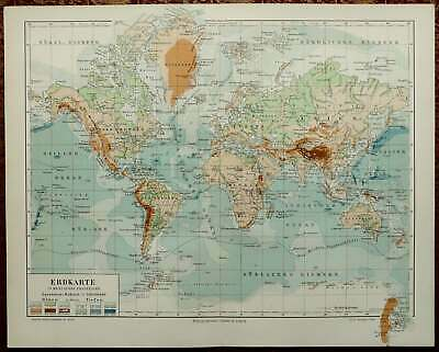1897 Antique PHYSICAL WORLD MAP. Geology. Geography. Rivers and Mountains.