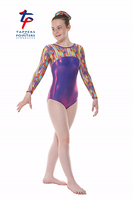 Girls Long-sleeved Gymnastic Leotards, GYM55 Tappers & Pointers 'Kaleidoscope'