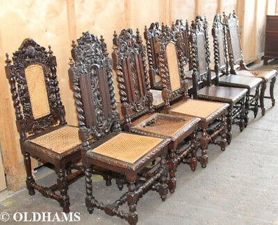 Amazing Set of 12 Antique Oak Gothic - Carved - Barley Twist - Dining Chairs