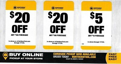 Northern Tool Company Coupons $20 $20 $5 ($45 Totals Savings) Exp. 7/7/20