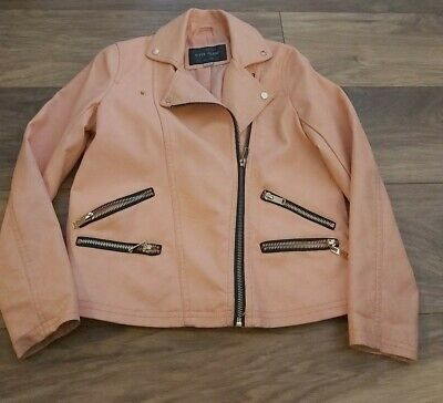River Island Girls Faux Leather peach Jacket, Age 10 Years