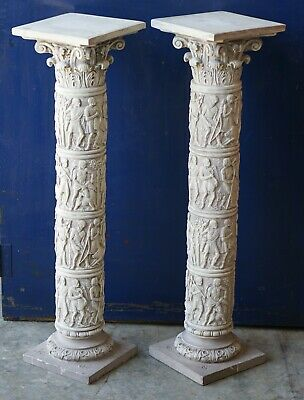 Pair of Reconstituted Stone Roman Style Cast Pillars Display Jardiniere Stand