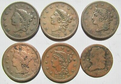 5 Different Coronet Large Cents 1835 1837 1839 1848 1856 + 1829 Half Cent
