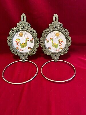 Home Interior Towel Ring Holders Sunrise Rooster Cast Iron Ceramic Wall Hang Vtg