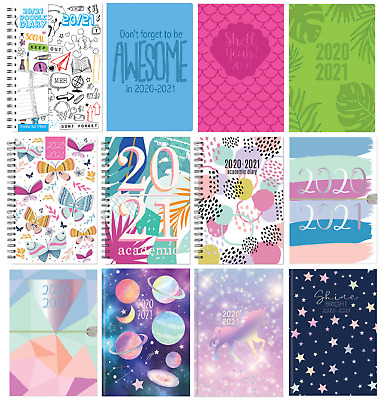 2020-2021 A5 Week to View Academic Diary Hardback Spiral Student Teacher Diary