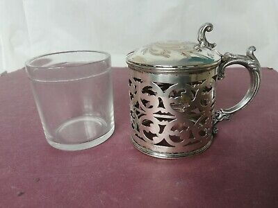 Silver plate mustard pot PBP with clear glass liner Anchor Hocking pierced patrn