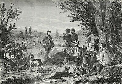 Dog Flat Coated Retriever & Pointer Hunter Lunch, 1870s Antique Engraving Print