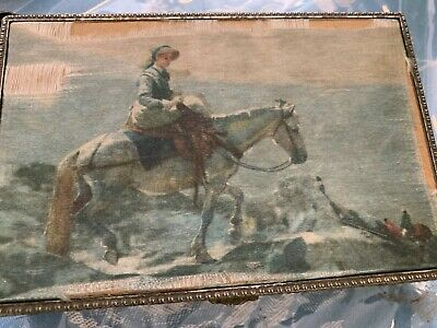 Vintage Jewelry Trinket Box Lady & Equestrian Horse cliff Scene silk screen