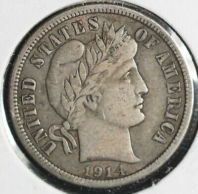 1914 Barber Silver One Dime 10C Coin