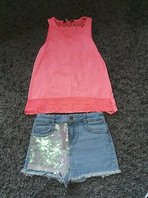Girls Denim Sequin Shorts And Vest Top Age 9-10 From primark