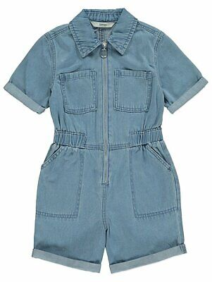 Gorgeous Girls Denim Zip Front Playsuit All In One Shorts Age 4- 13