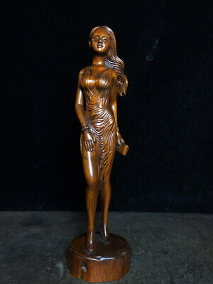 Decoration Ancient Boxwood Carved Woman Standing Elegant Auspicious Lucky Statue